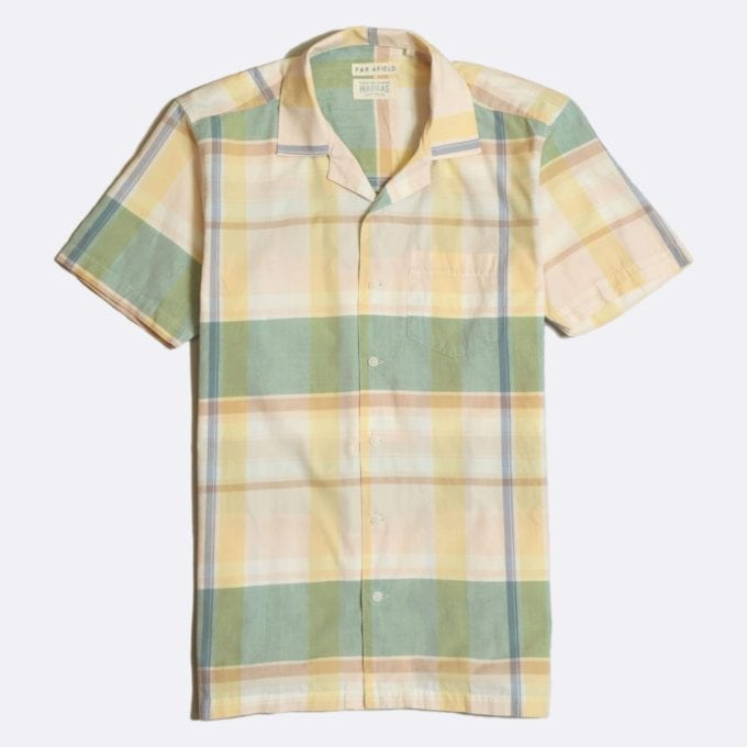 Far Afield x Madras Shirting Co' Stachio Short Sleeve Shirt a Green/Yellow BCI Cotton Fabric Hawaiian Bowling Style Smart Casual