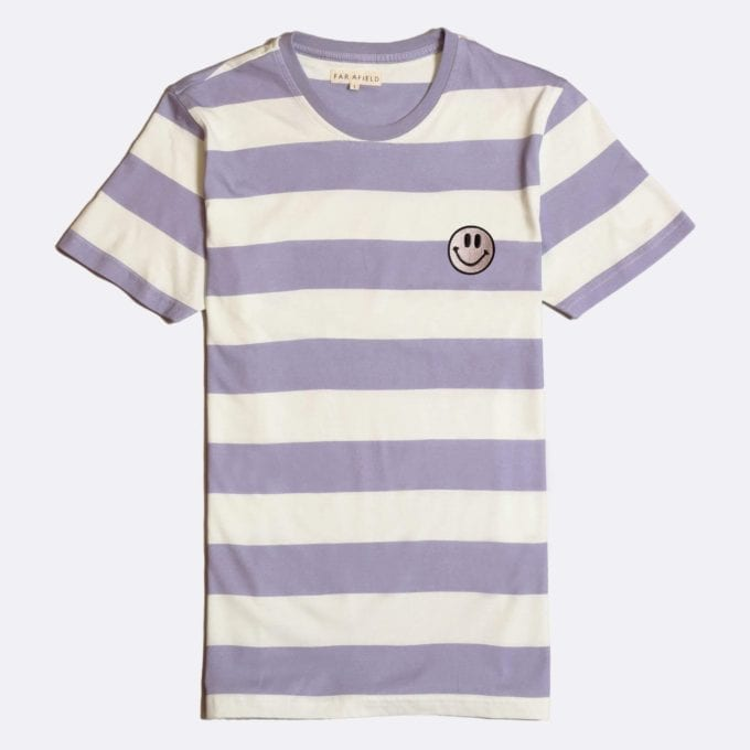 Far Afield Embroidered Acid Smile T-Shirt a Stonewash Blue BCI Cotton Fabric Short Sleeve Casual