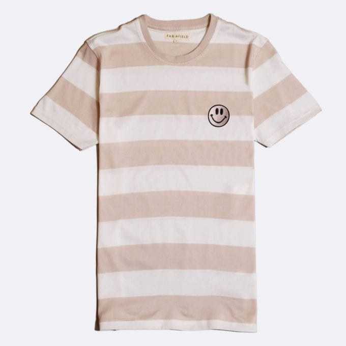 Far Afield Embroidered Acid Smile T-Shirt a Dust Pink BCI Cotton Fabric Short Sleeve Casual