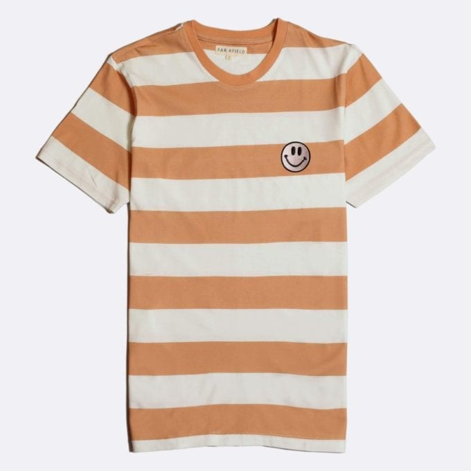 Far Afield Embroidered Acid Smile T-Shirt a Toasted Orange BCI Cotton Fabric Short Sleeve Casual