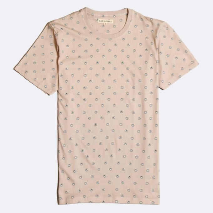 Far Afield Acid Smile Print T-Shirt a Dust Pink BCI Cotton Fabric Short Sleeve Casual