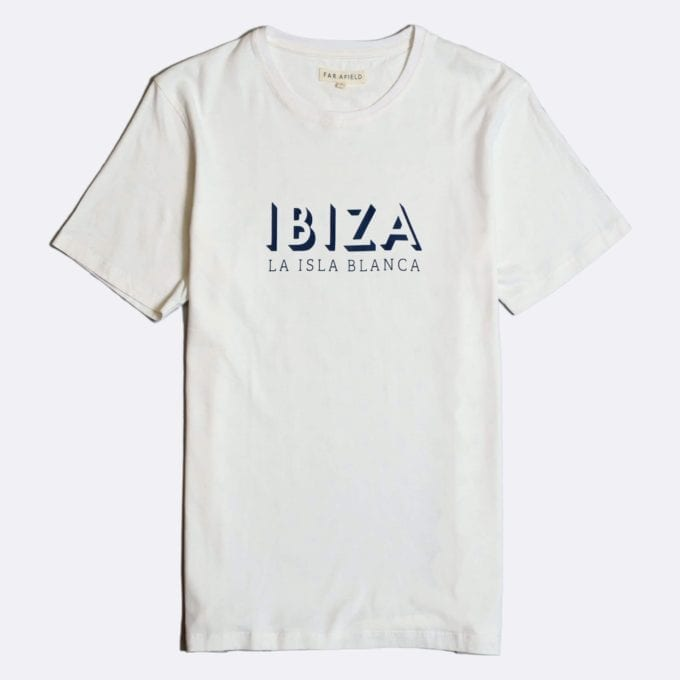 Far Afield Ibiza Print T-Shirt a White BCI Cotton Fabric Short Sleeve Casual