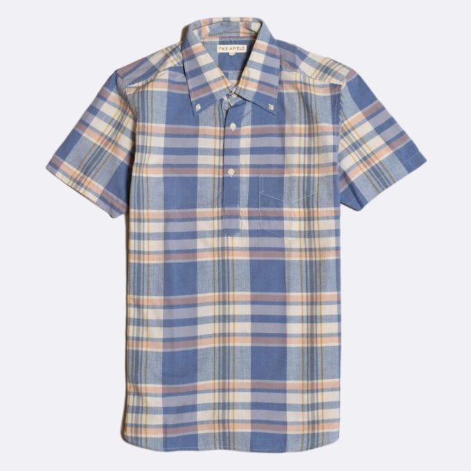 Far Afield x Madras Shirting Co' Ivy Short Sleeve Shirt a Blue/White BCI Cotton Classic Fabric Check Smart Casual