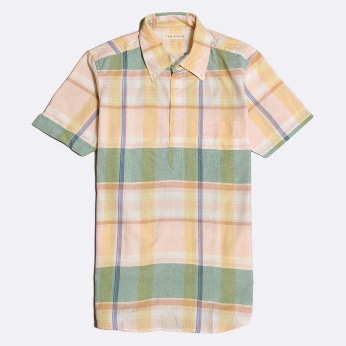 Far Afield x Madras Shirting Co' Ivy Short Sleeve Shirt a Green/Yellow BCI Cotton Classic Fabric Check Smart Casual