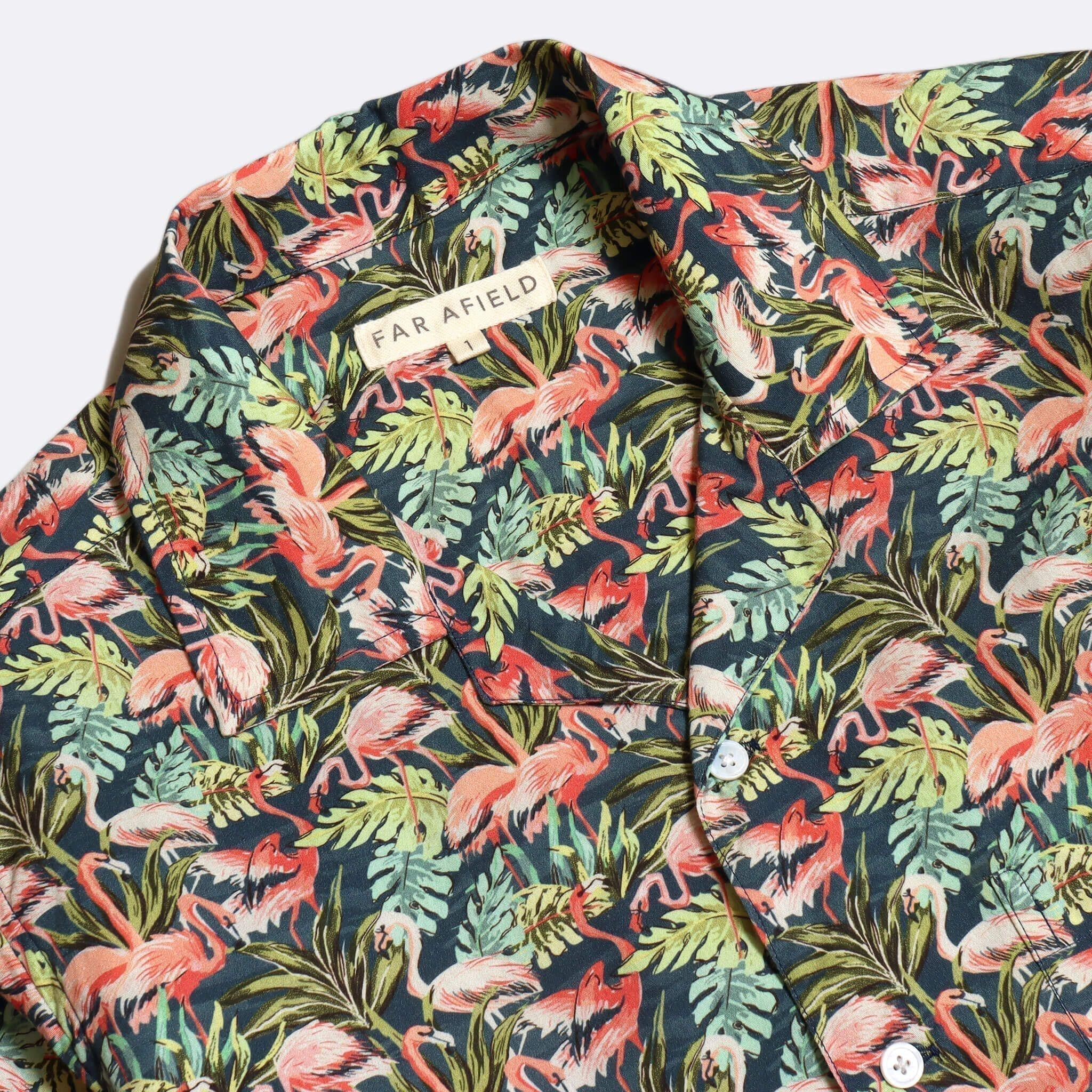 Far Afield Stachio Short Sleeve Shirt a Navy Cotton/Up-Cycled Fabric Hawaiian Bowling Style Smart Casual 2
