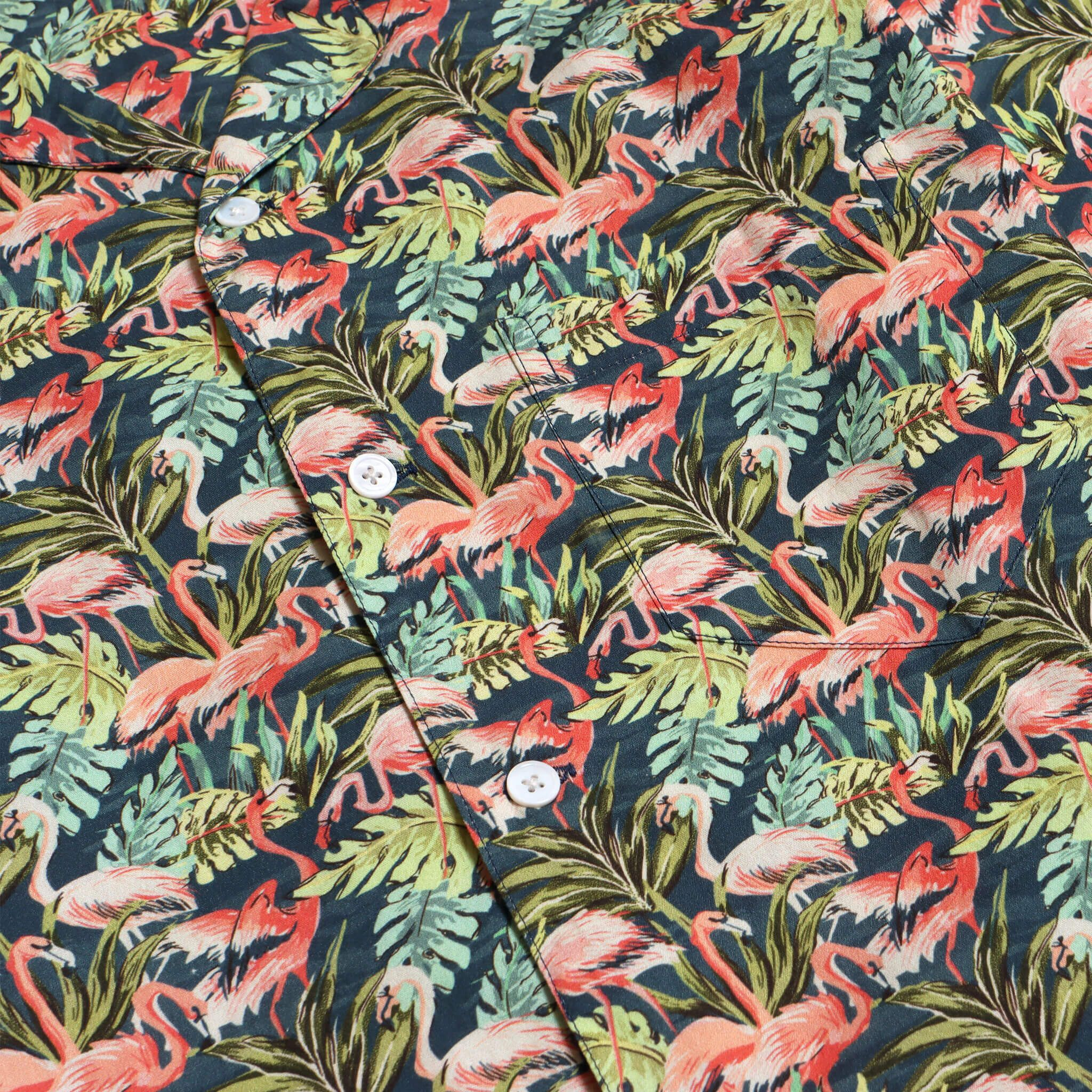 Far Afield Stachio Short Sleeve Shirt a Navy Cotton/Up-Cycled Fabric Hawaiian Bowling Style Smart Casual 3
