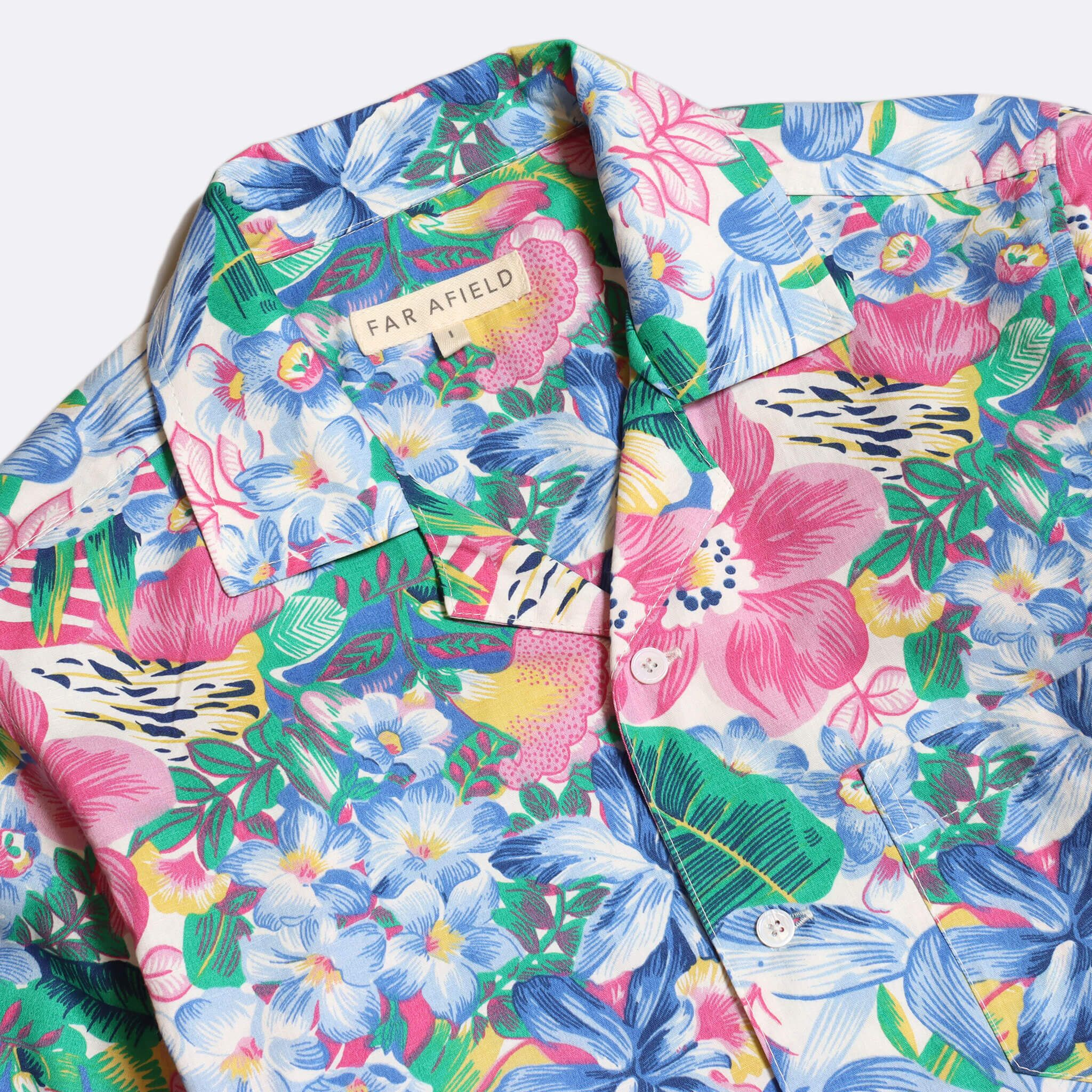 Far Afield Stachio Short Sleeve Shirt a Multi Colour Cotton/Up-Cycled Fabric Hawaiian Bowling Style Smart Casual 2