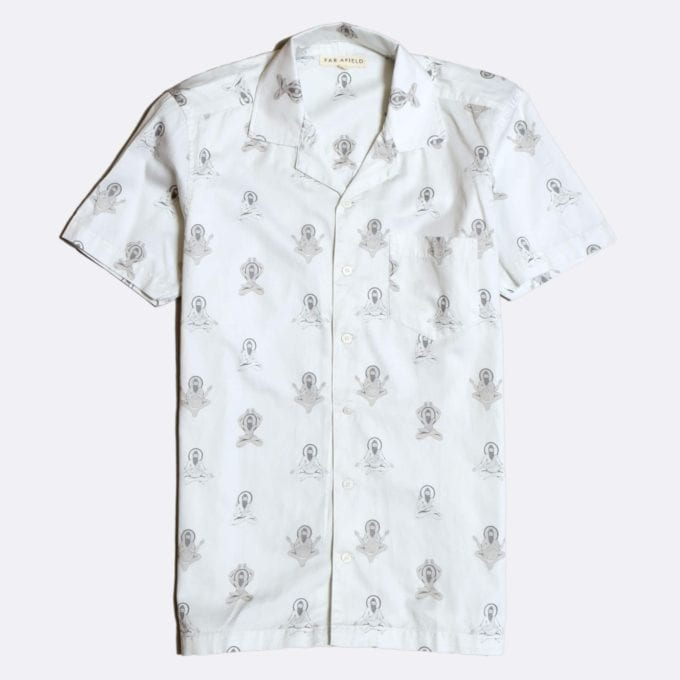 Far Afield Stachio Short Sleeve Shirt a White Organic Cotton Fabric Hawaiian Bowling Style Smart Casual