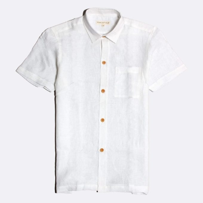 Far Afield Costa Short Sleeve Shirt a WhiteClassic Tailored Casual