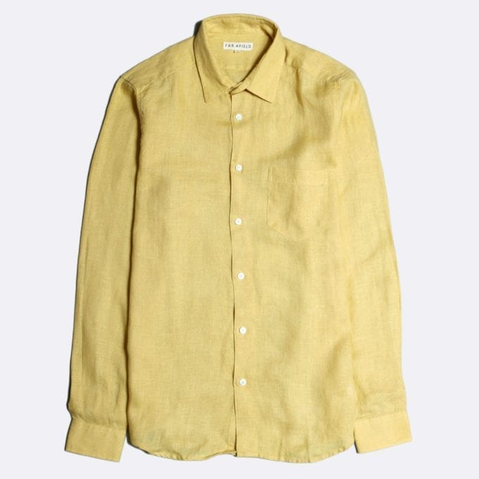 Far Afield Classic Long Sleeve Shirt a Jojoba Yellow Linen Fabric Plain Basics Smart Casual