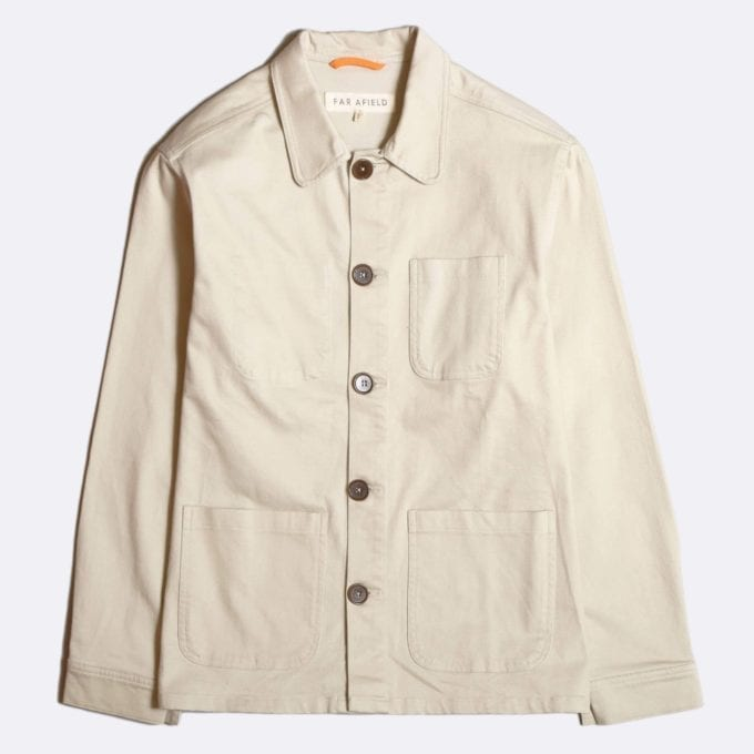 Far Afield Station Jacket a Pumice Stone BCI Cotton Fabric Utility Overshirt Casual Work