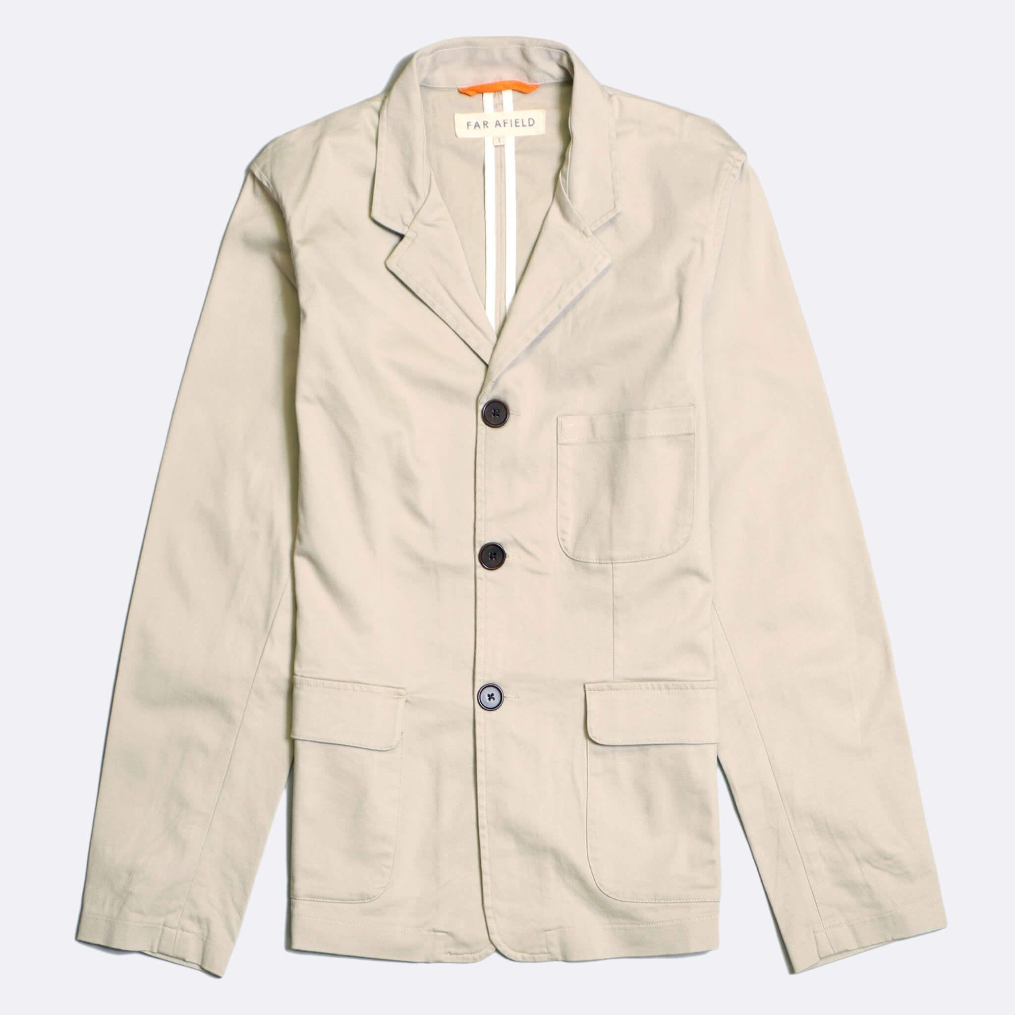 Far Afield Barbet Jacket a Pumice Stone BCI Cotton/Cotton Twill Fabric Work Blazer Smart Casual