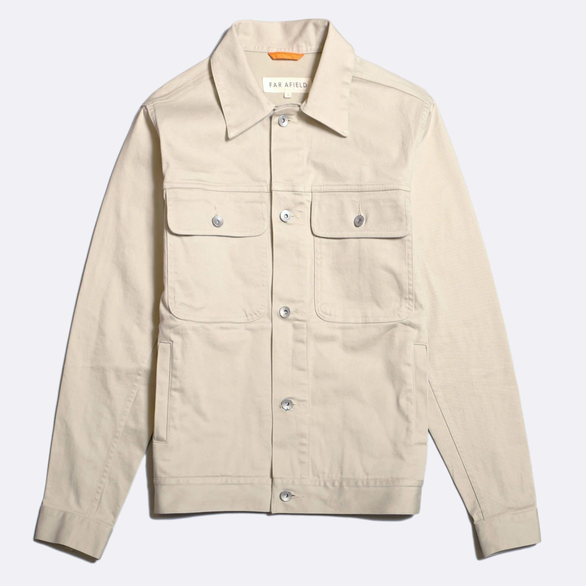 Far Afield Watts Jacket a Pumice Stone BCI Cotton/Cotton Twill Fabric Trucker Casual Work