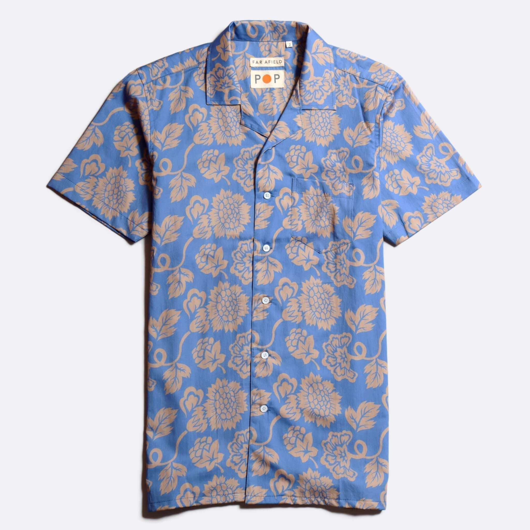 Far Afield 'POP' Stachio Short Sleeve Shirt a Blue Organic Cotton Fabric Keanu Reeves Hawaiian Bowling Style