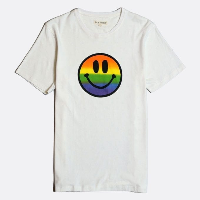 Far Afield Acid Smile Print T-Shirt a White BCI Cotton Fabric with Smiley Face Logo Casual