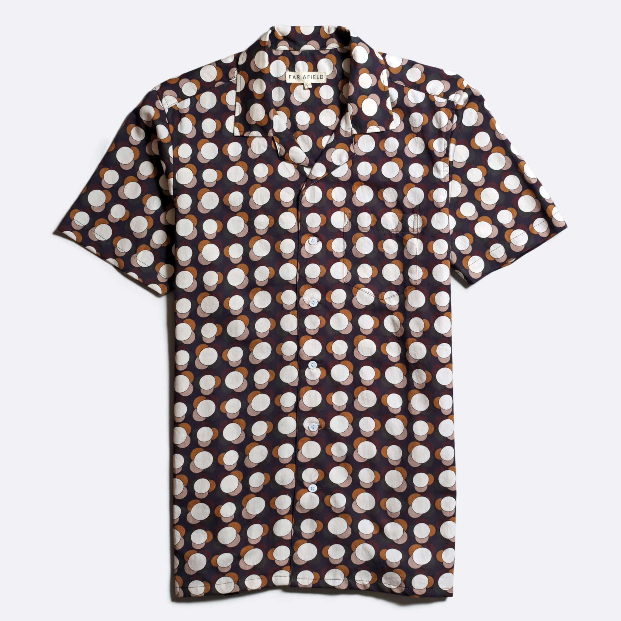 Far Afield x John Lewis Stachio Short Sleeve Shirt a Multi Colour Organic Satin Cotton Fabric Hawaiian Bowling Style Smart Casual