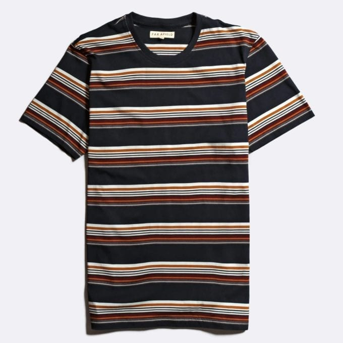 Far Afield x John Lewis Rapido Stripe T-Shirt a Deep Well Blue Organic Cotton Fabric Short Sleeve Casual