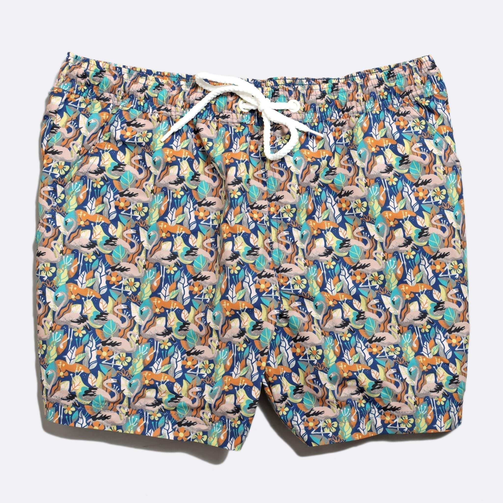 Far Afield x Selfridges Birds Print Swim Shorts a Multi Colour Recycled Plastic Flamingo Repeat Pattern Fabric Casual