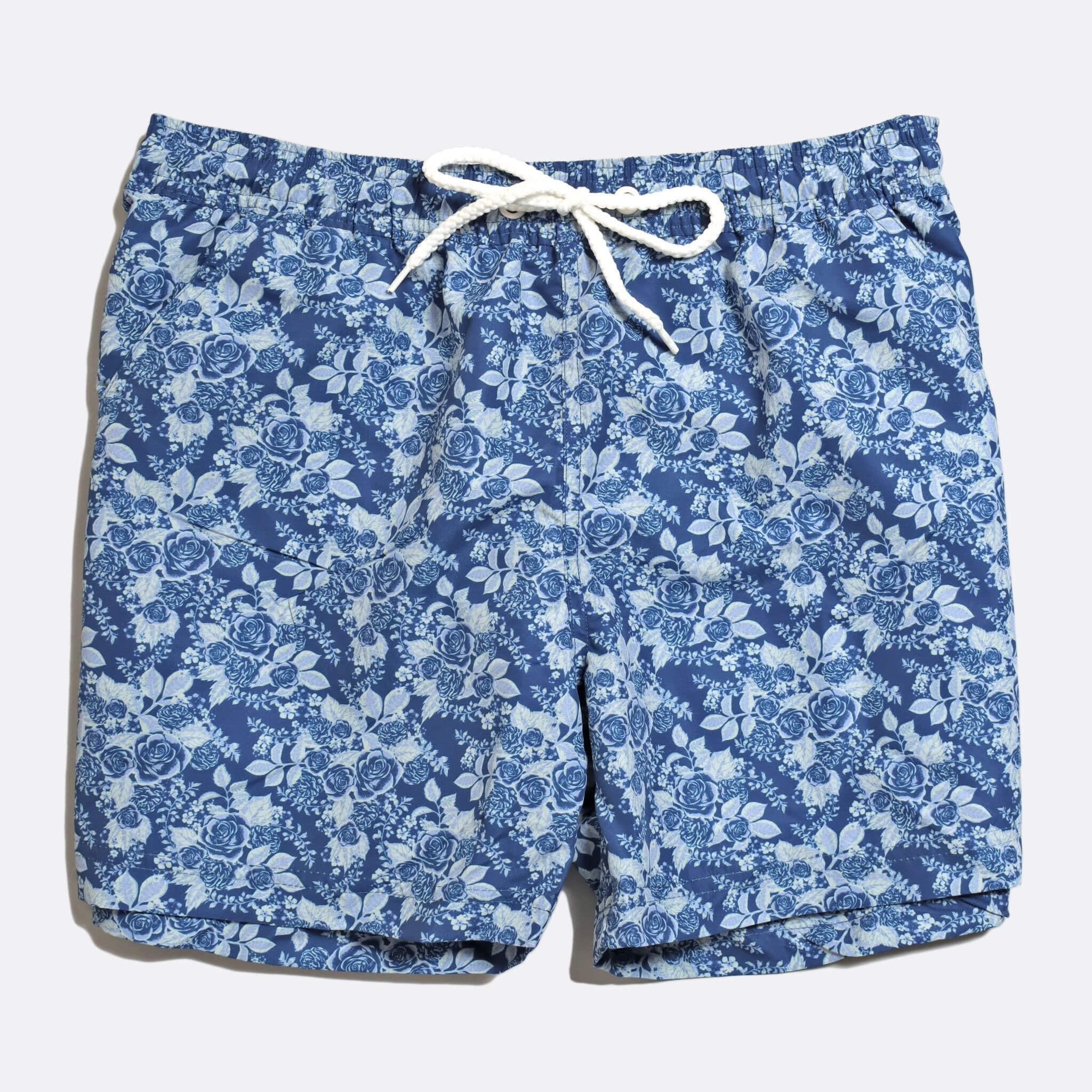 Far Afield x Selfridges Rose Print Swim Shorts a Navy Recycled Plastic Floral Repeat Pattern Fabric Casual
