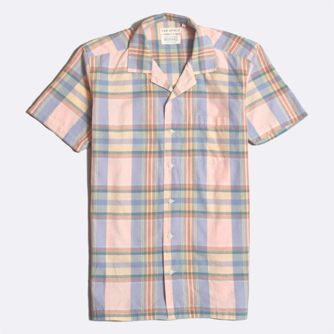 Far Afield x Madras Shirting Co' Stachio Short Sleeve Shirt a Pink/Blue BCI Cotton Fabric Hawaiian Bowling Style Smart Casual