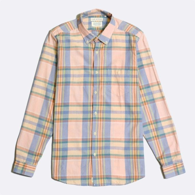 Far Afield x Madras Shirting Co' Casual Button Down Long Sleeve Shirt a Pink/Blue BCI Cotton Classic Fabric Check Smart Casual