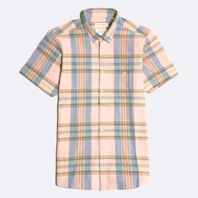 Far Afield x Madras Shirting Co' Casual Button Down Short Sleeve Shirt a Pink/Blue BCI Cotton Classic Fabric Check Smart Casual