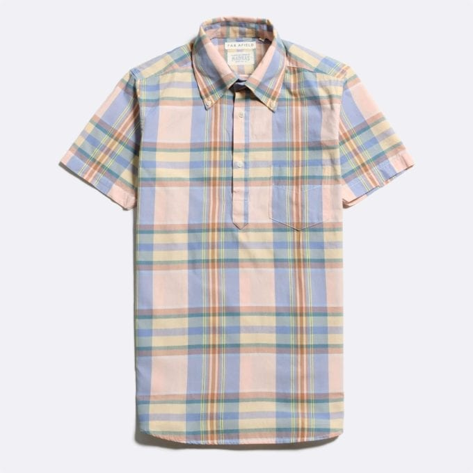 Far Afield x Madras Shirting Co' Ivy Short Sleeve Shirt a Pink/Blue BCI Cotton Classic Fabric Check Smart Casual
