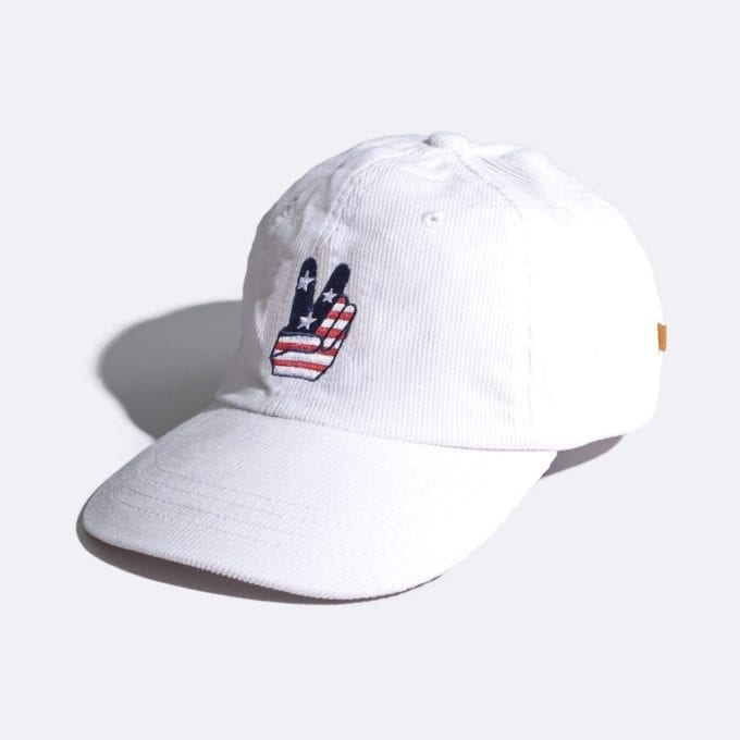 Far Afield Carlos Cap White Baseball Hat a White Cotton Corduroy Fabric Baseball Hat 5 Panel
