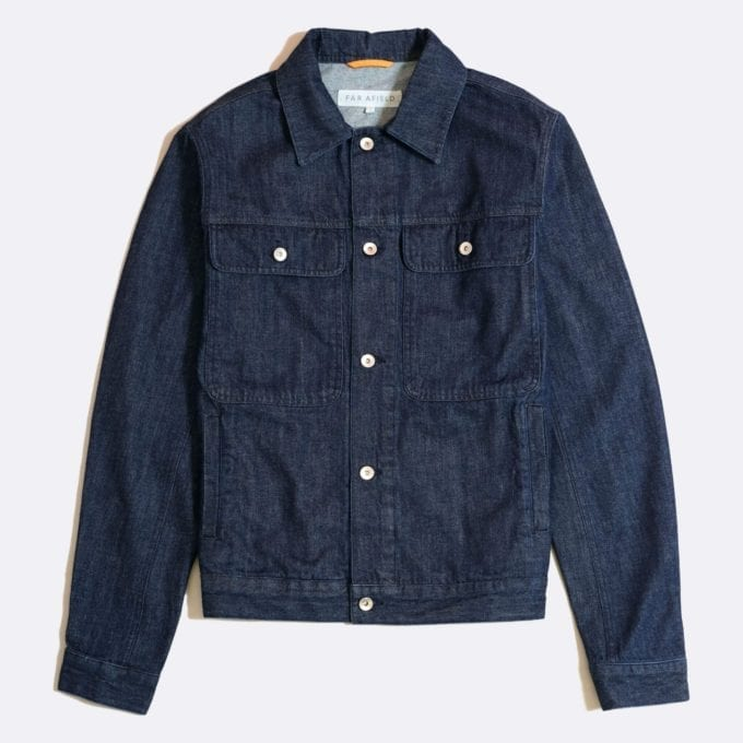 Far Afield Watts Jacket a Indigo Blue BCI Cotton Fabric Trucker Casual Work