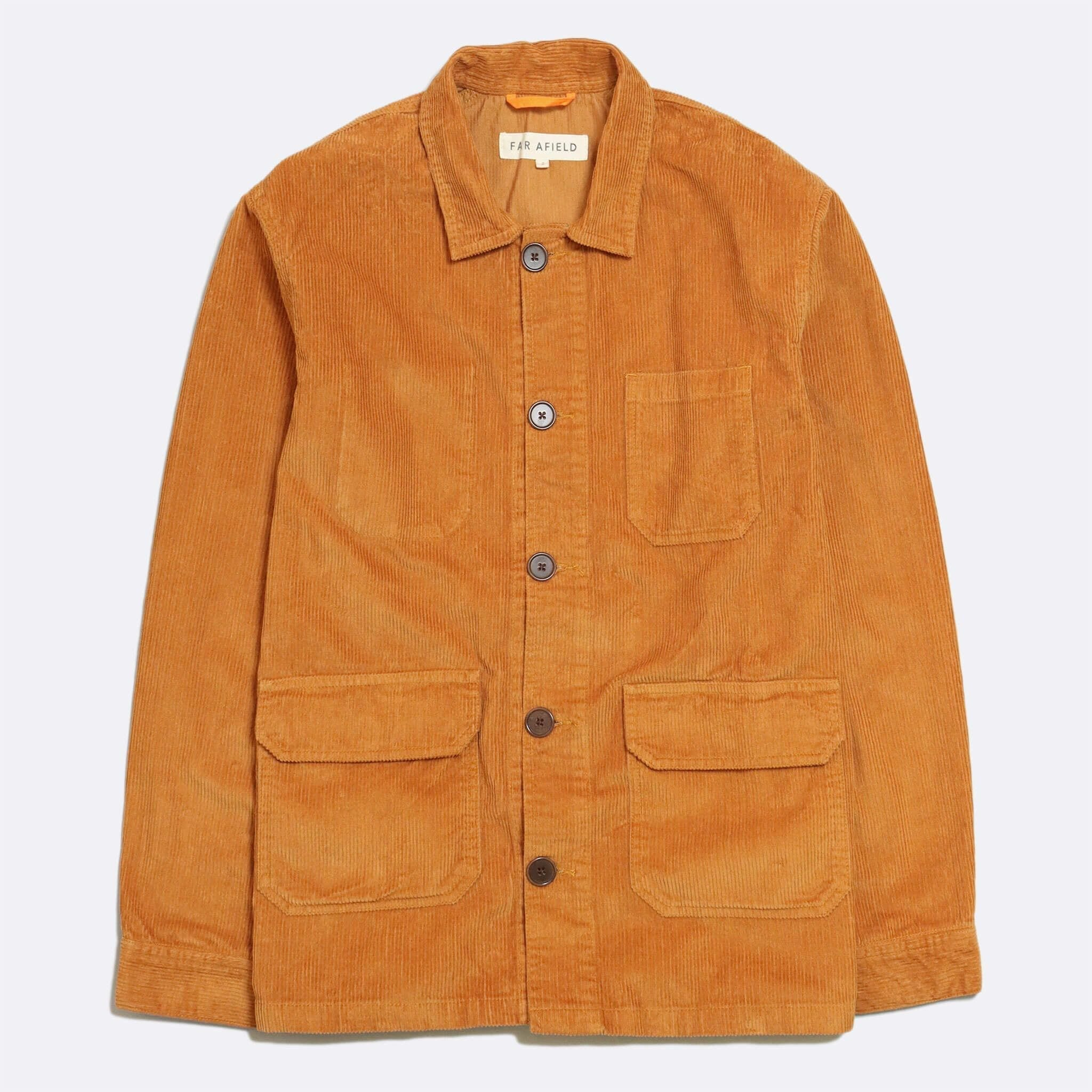 Far Afield Porter Jacket a Orange Organic Cotton Twill Fabric Utility Overshirt Casual Work