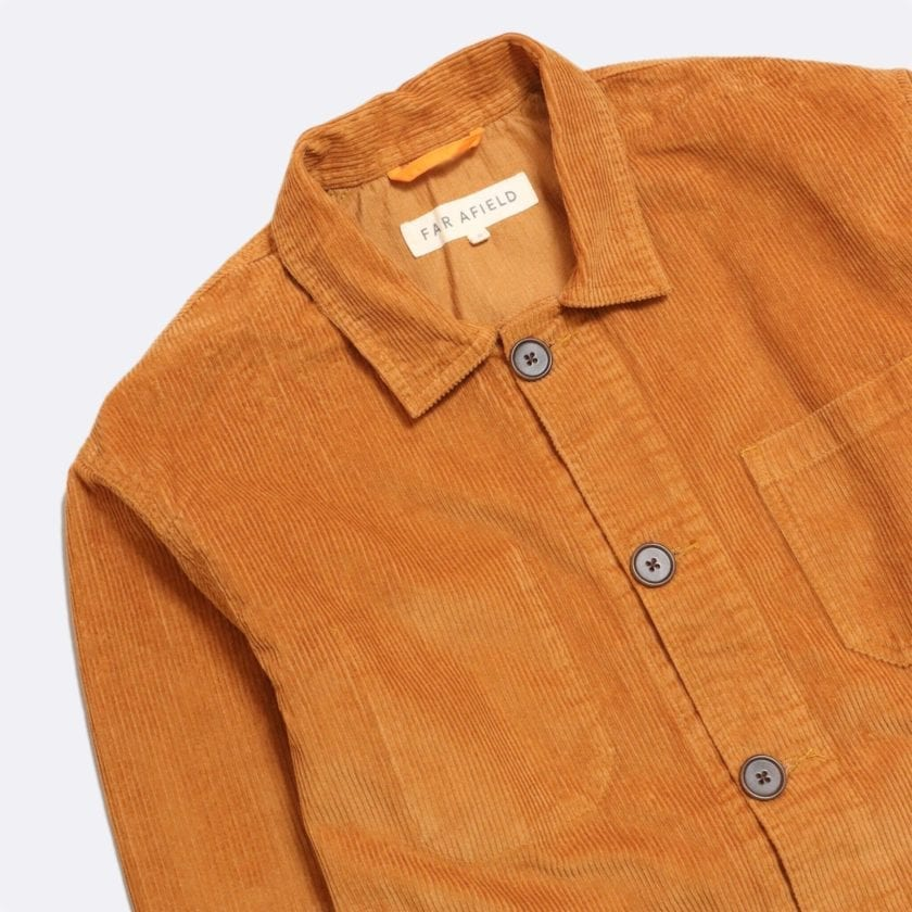 Far Afield Porter Jacket a Orange Organic Cotton Twill Fabric Utility Overshirt Casual Work 4