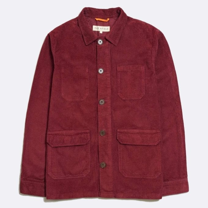 Far Afield Porter Jacket a Maroon Organic Cotton Corduroy Fabric Utility Overshirt Casual Work