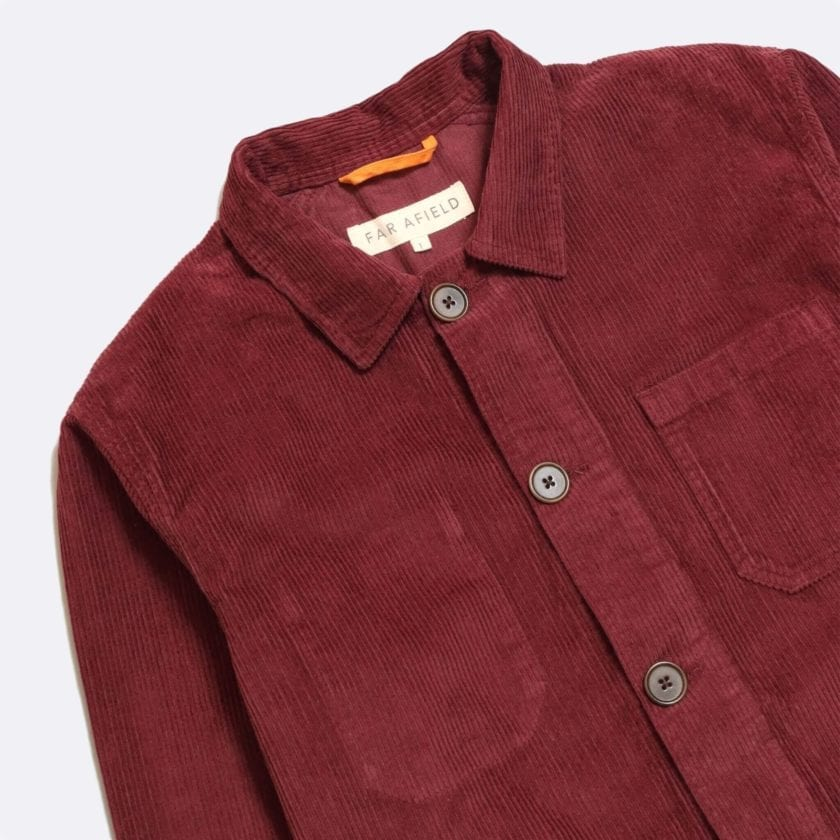Far Afield Porter Jacket a Maroon Organic Cotton Corduroy Fabric Utility Overshirt Casual Work 5