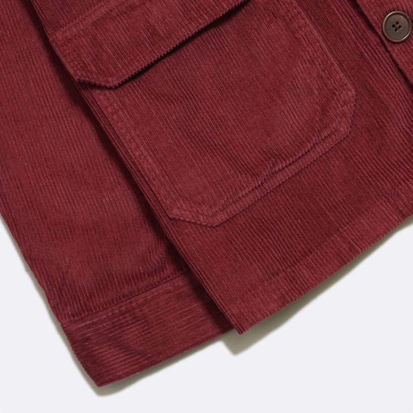 Far Afield Porter Jacket a Maroon Organic Cotton Corduroy Fabric Utility Overshirt Casual Work 6