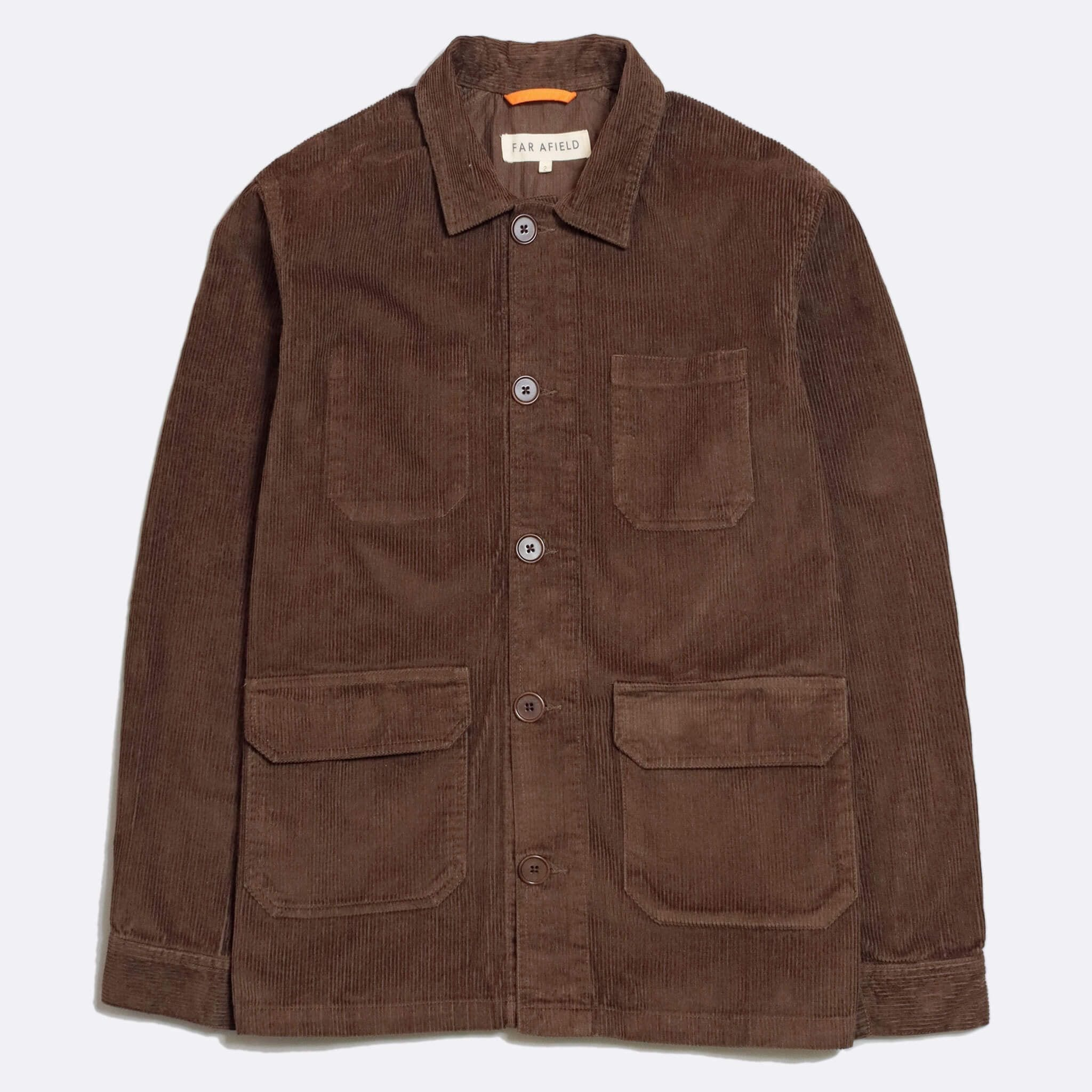 Far Afield Porter Jacket a Dark Brown Organic Cotton Twill Fabric Utility Overshirt Casual Work