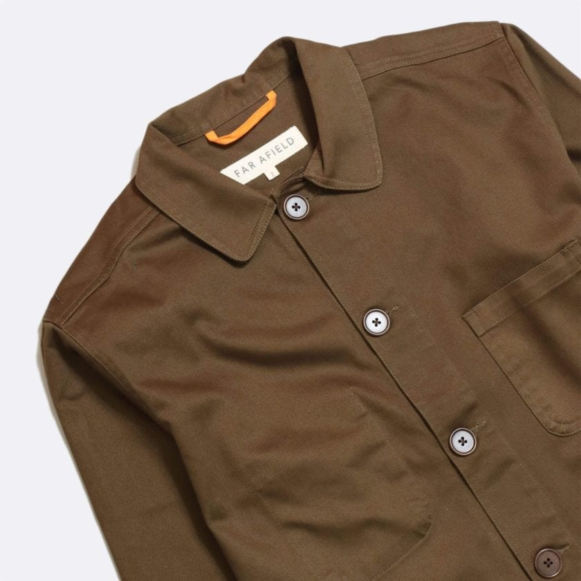 Far Afield Station Jacket a Dark Brown Organic Cotton Twill Fabric Utility Overshirt Casual Work 5