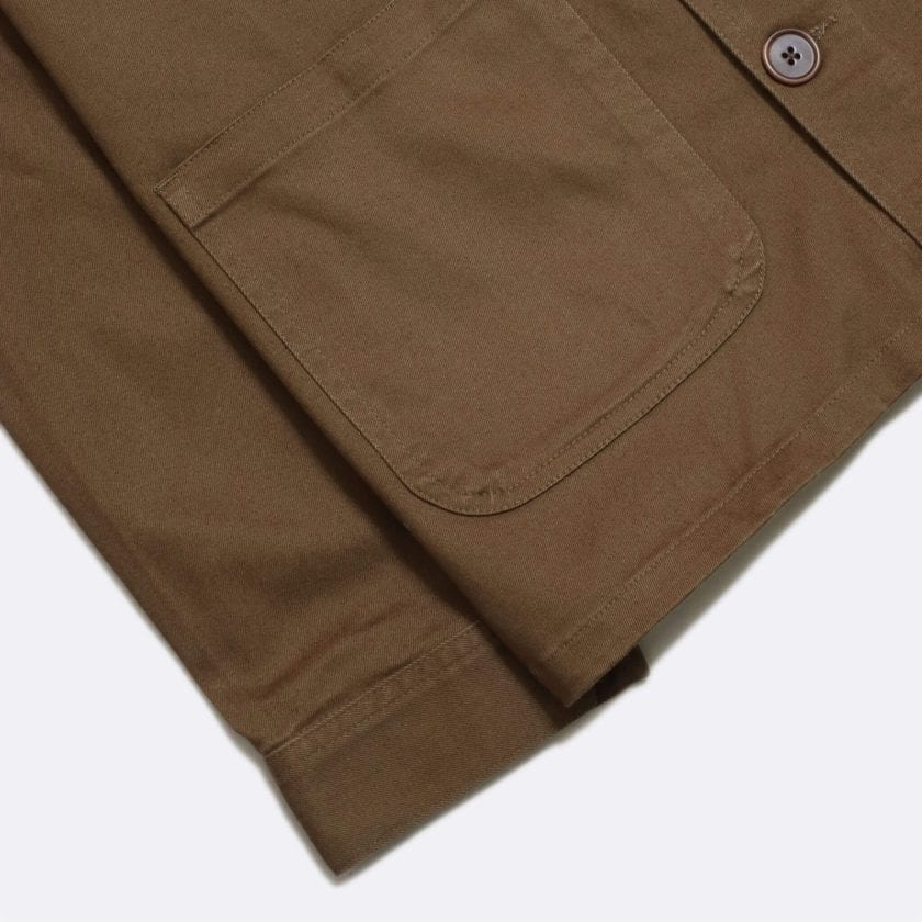 Far Afield Station Jacket a Dark Brown Organic Cotton Twill Fabric Utility Overshirt Casual Work 6