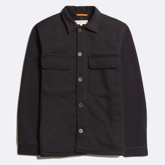 Far Afield Normsk Jacket a Espresso Grey BCI Cotton Fabric/Poly Fleece Utility Overshirt Casual Work