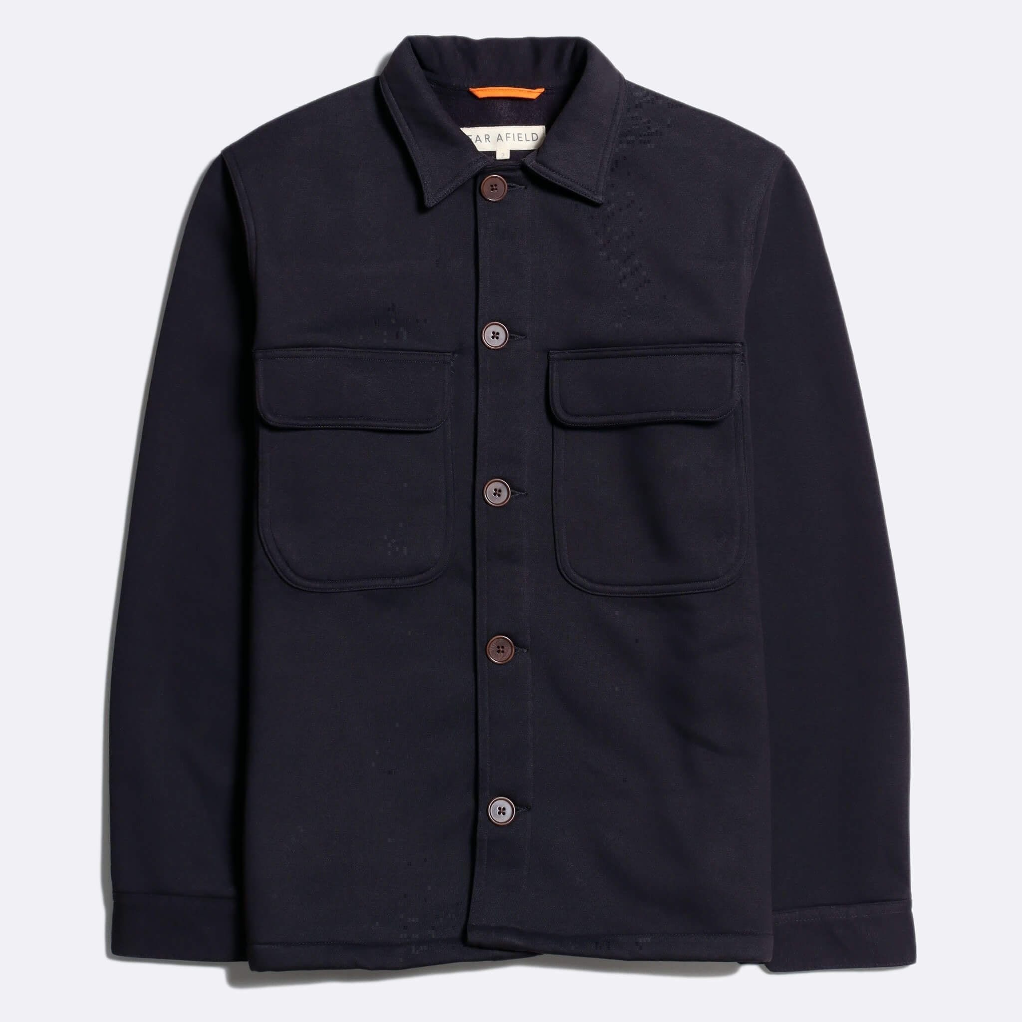 Far Afield Normsk Jacket a Navy BCI Cotton Fabric/Poly Fleece Utility Overshirt Casual Work
