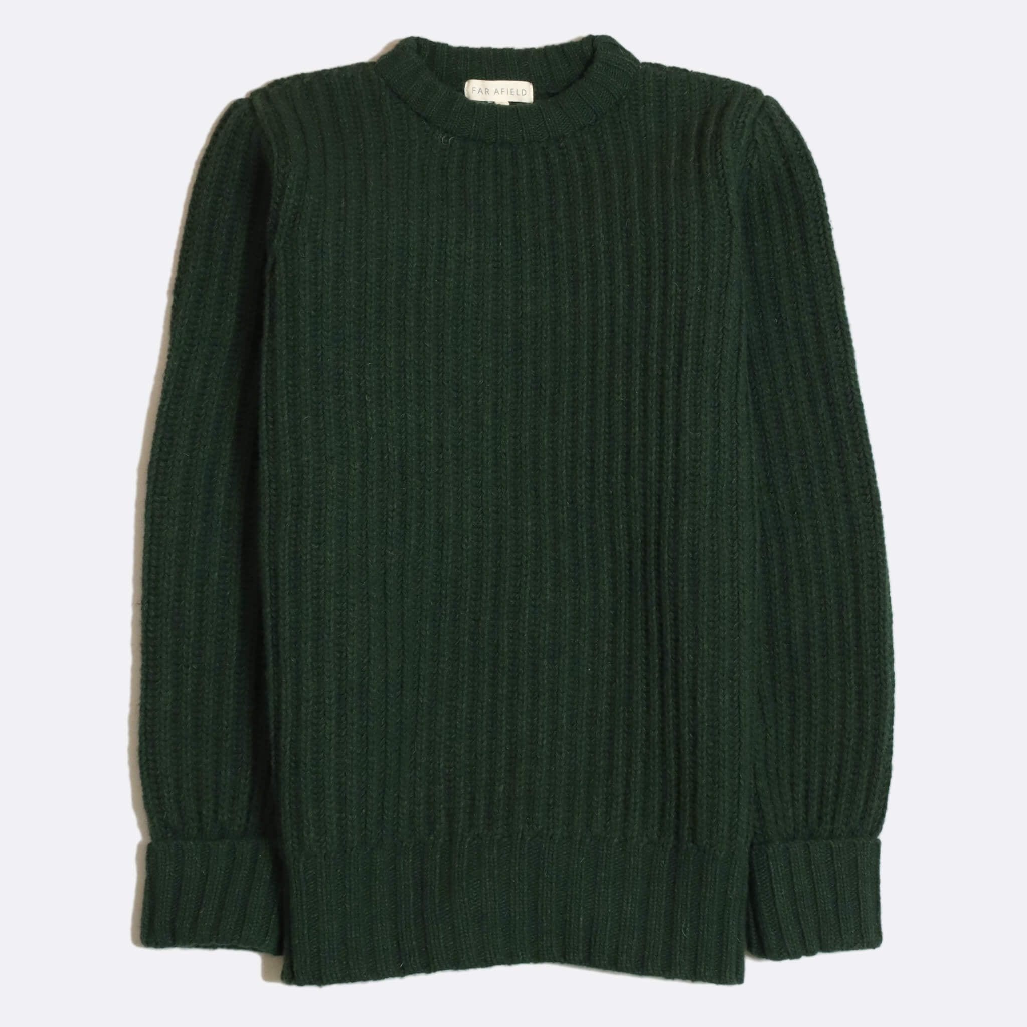 Far Afield Tanner Ribbed Knit a Green Fine Wool Blend Fabric Fisherman Jumper Casual