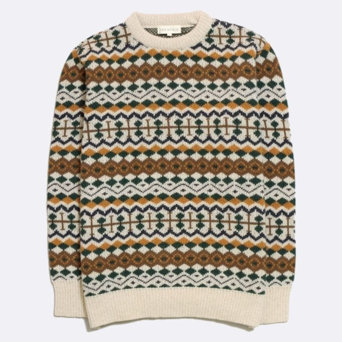 Far Afield Fair Isle Knit a Multi Colour Fine Wool Blend Fabric Classic Jumper Casual Patterned