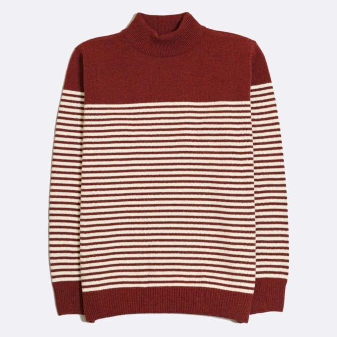 Far Afield Combin Stripe Knit a Maroon Fine Wool Blend Fabric Mock Turtle Neck Jumper Casual