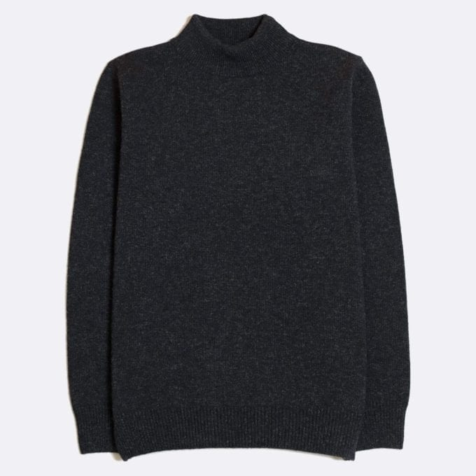 Far Afield Combin Knit a Espresso Grey Fine Wool Blend Fabric Mock Turtle Neck Jumper Casual