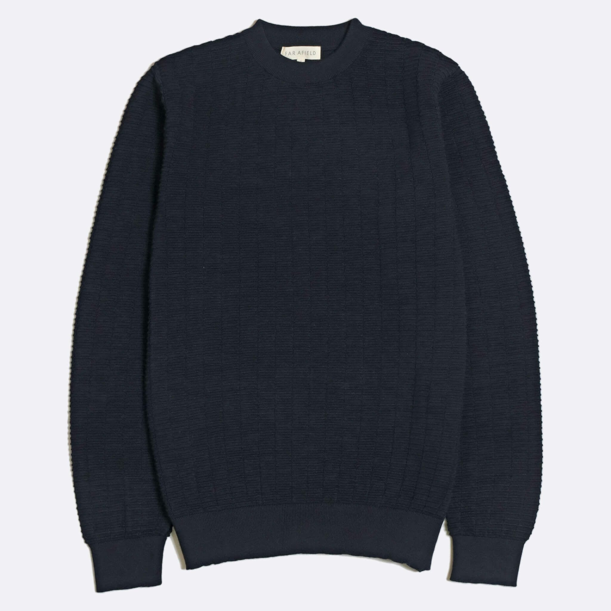 Far Afield Vitor Ribbed Crewneck a Navy Fine Merino Blend Fabric Classic Jumper Casual