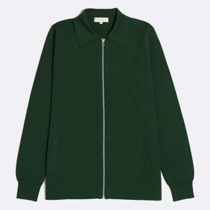 Far Afield Alexsey Zipper Cardigan a Green Fine Merino Blend Fabric Italian Mod Knitwear Smart Casual