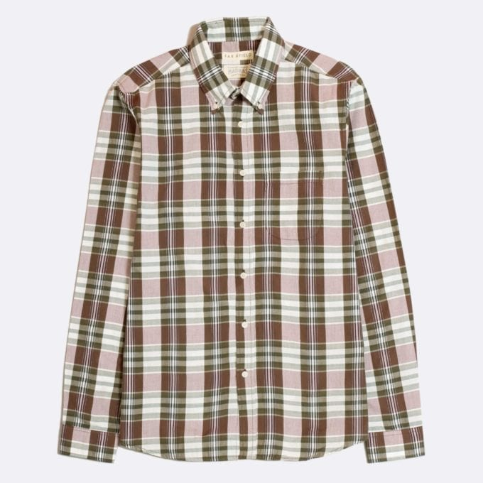 Far Afield x Madras Shirting Co' Casual Button Down Long Sleeve Shirt a Volga Check BCI Cotton Classic Fabric Check Smart Casual