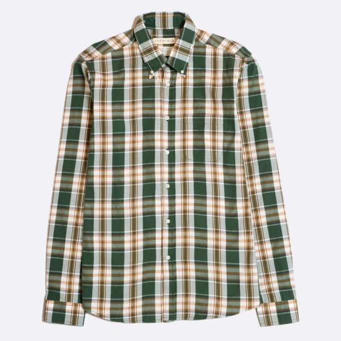 Far Afield x Madras Shirting Co' Casual Button Down Long Sleeve Shirt a Trabant Check BCI Cotton Classic Fabric Check Smart Casual