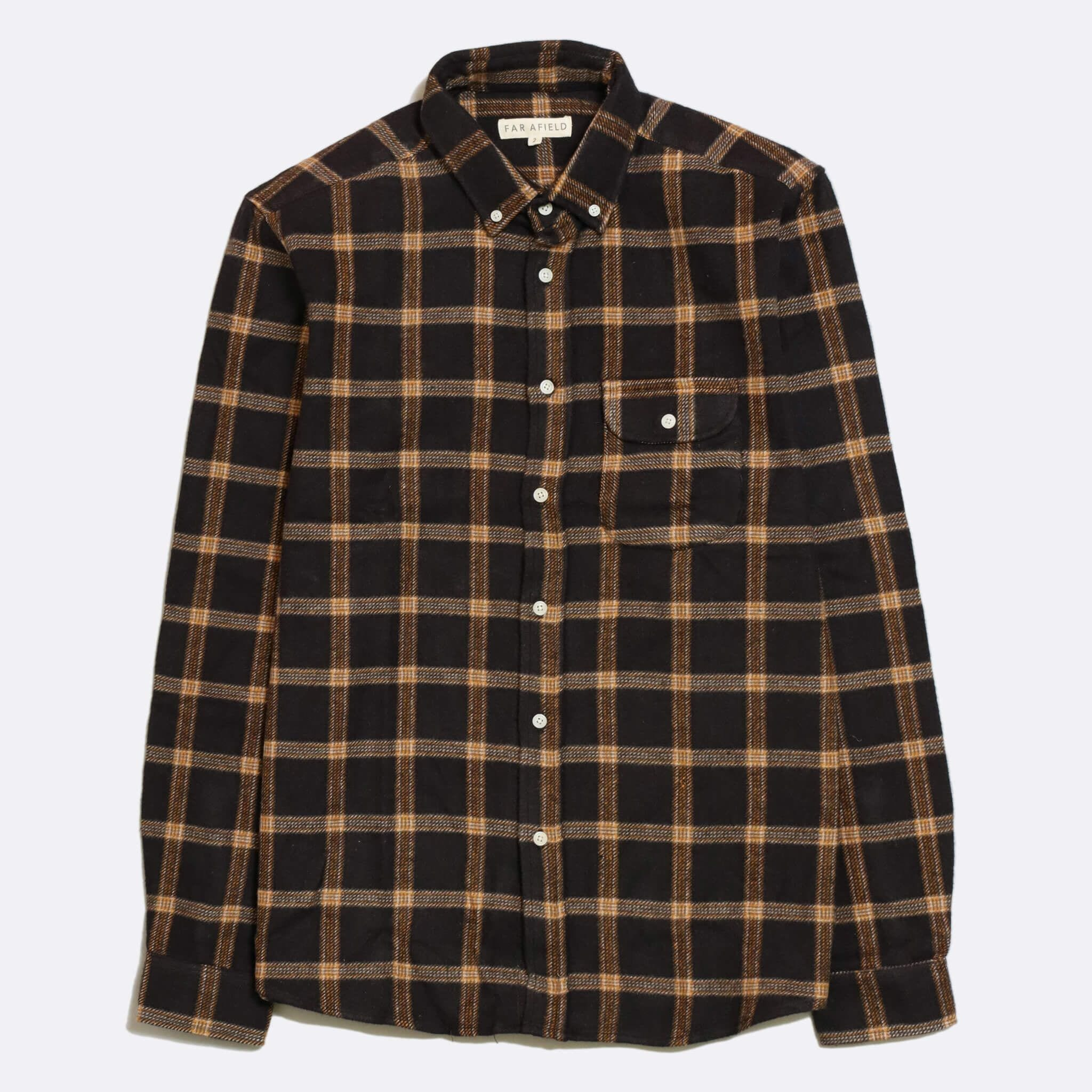Far Afield Larry Long Sleeve Shirt a Dark Navy BCI Cotton/Cotton Twill Fabric Work Lumberjack Check Casual