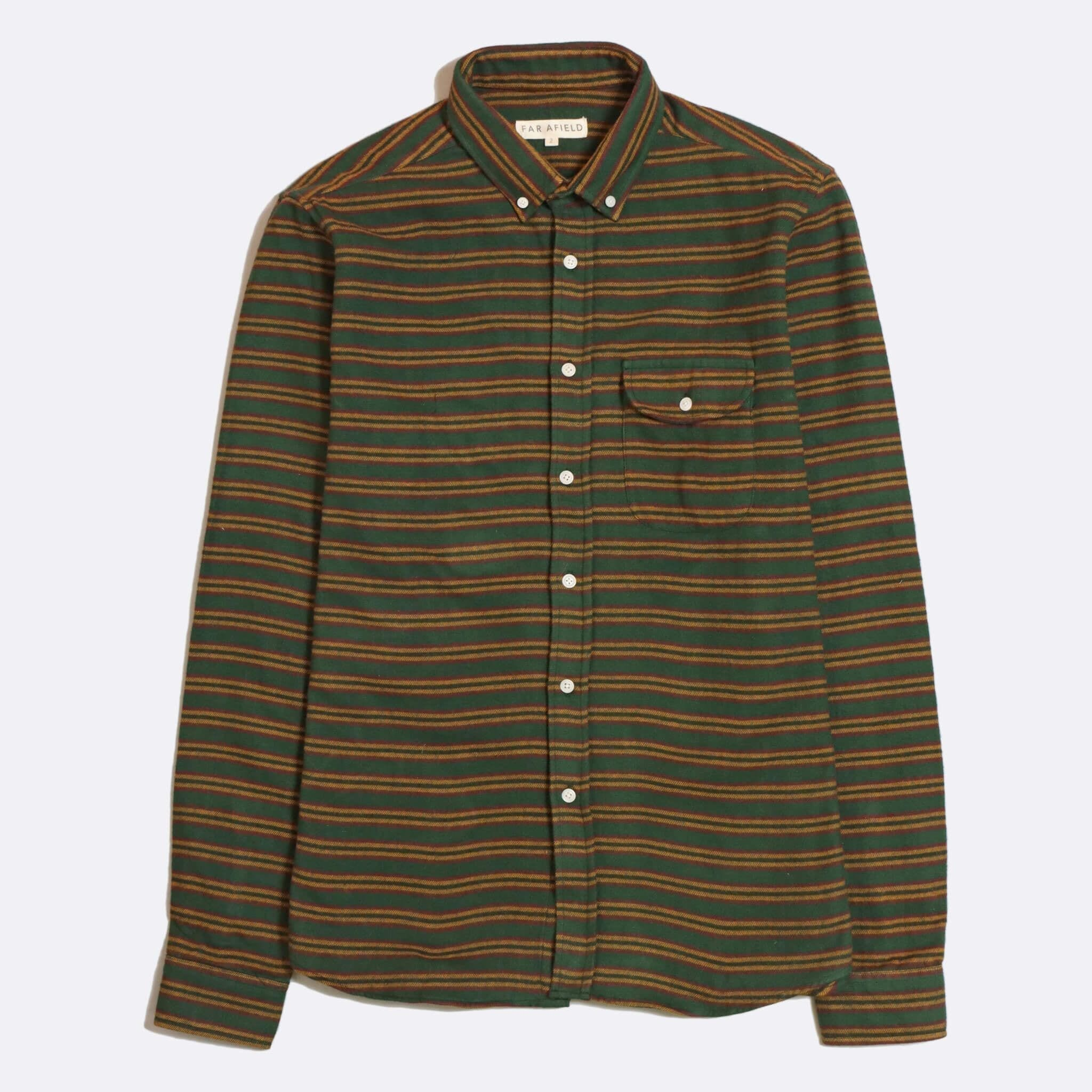 Far Afield Larry Long Sleeve Shirt a Green BCI Cotton Fabric/Cotton Flannel Work Lumberjack Stripe Casual