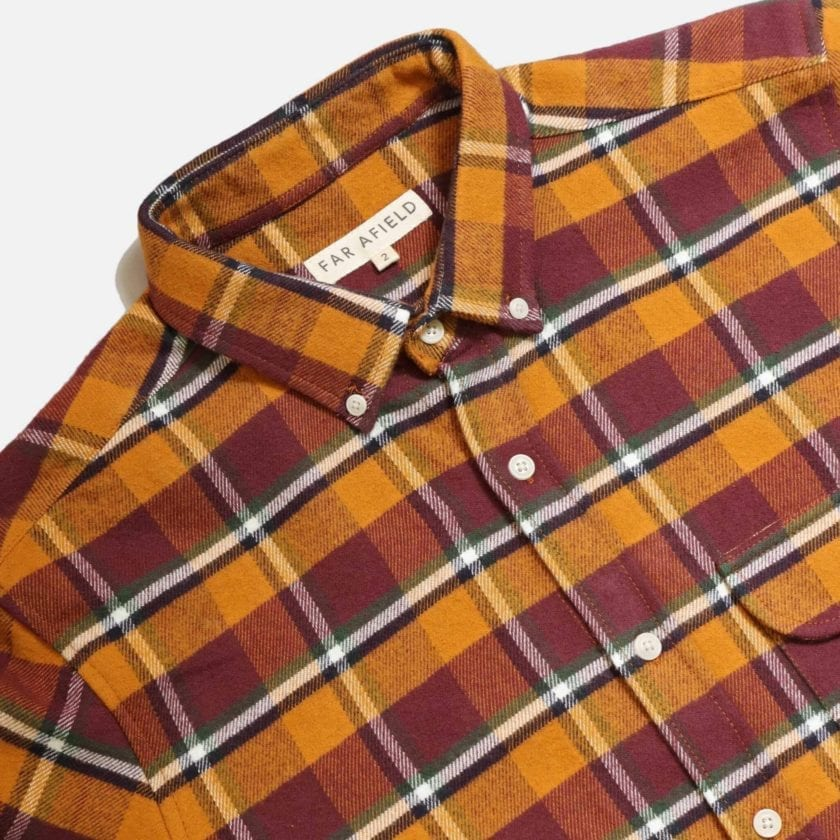 Far Afield Larry Long Sleeve Shirt a Omsk Check BCI Cotton Fabric/Cotton Flannel Work Lumberjack Check Casual 5